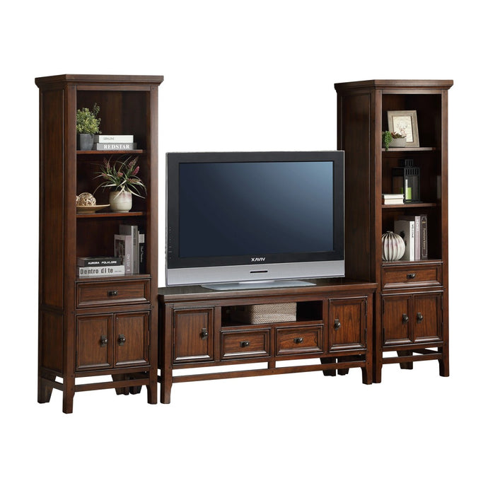 Homelegance Frazier Park Cherry Wood Finish 3 Pieces Entertainment Center