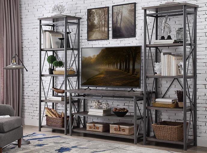 Homelegance Laurel Hill Gray Metal And Wood Finish 3 Piece Entertainment Center