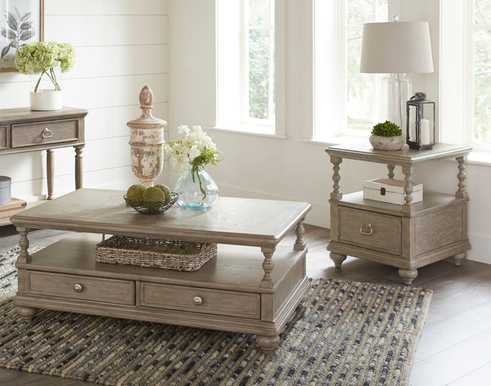 Homelegance Grayling Downs Gray Wood Finish 3 Piece Coffee Table Set