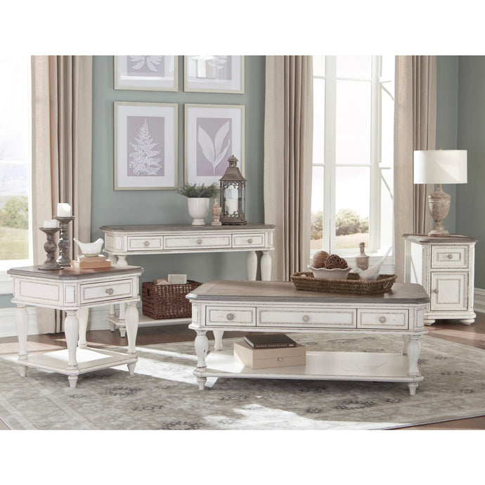 Homelegance Willowick Antique White Wood Finish 3 Piece Coffee Table Set
