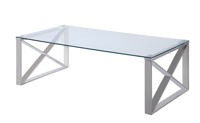 Homelegance Rush Chrome And Glass Top Finish Coffee Table