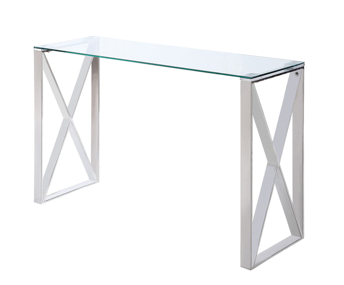 Homelegance Rush Chrome And Glass Top Finish Sofa Table