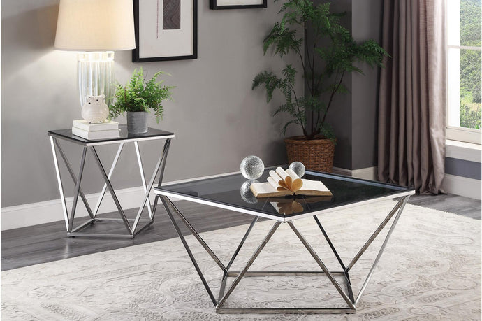 Homelegance Rex Chrome And Glass Top Finish 3 Piece Coffee Table Set