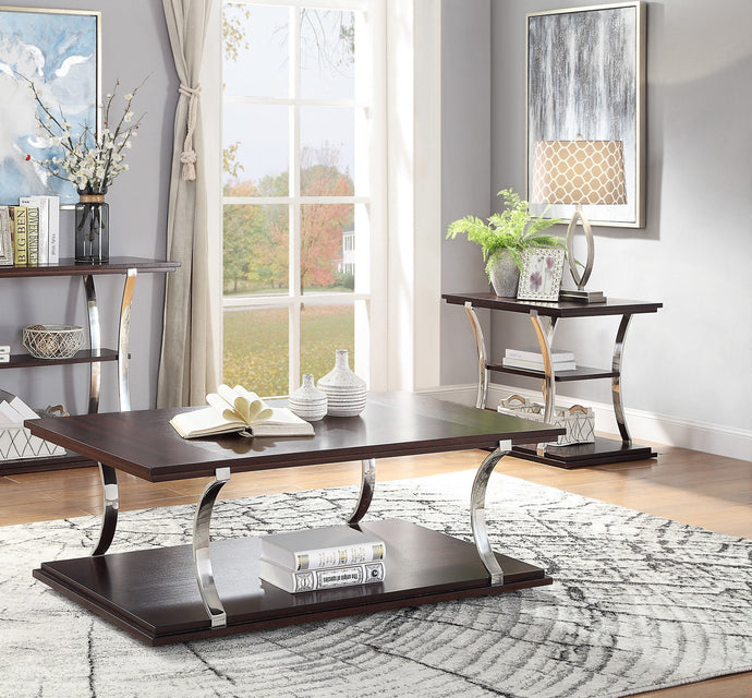 Homelegance Bevan Cherry Wood And Metal Finish 3 Piece Coffee Table Set