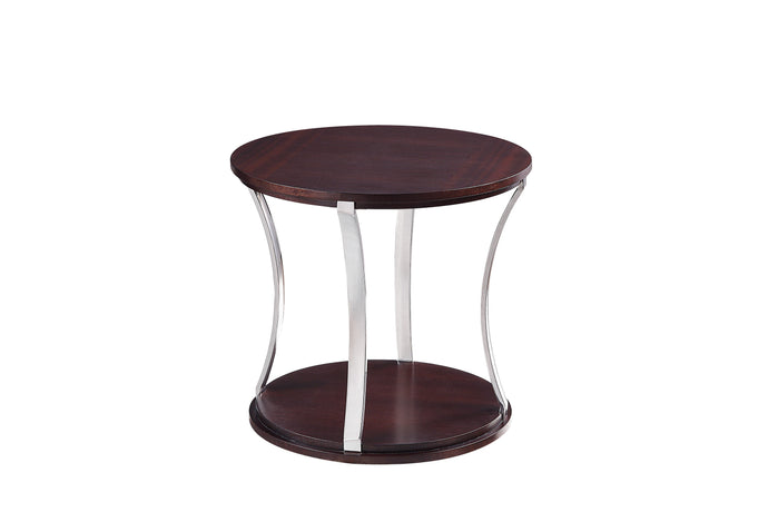 Homelegance Bevan Cherry Wood And Metal Finish Round End Table