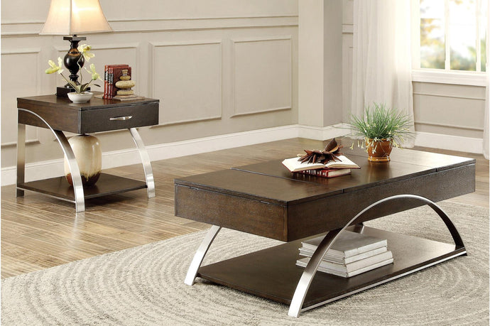 Homelegance Tioga Espresso Wood And Metal Finish 3 Piece Coffee Table Set