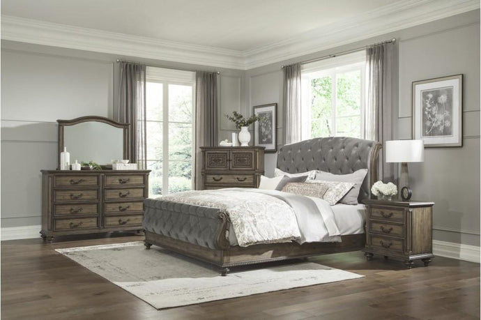Homelegance Rachelle Brown Wood Finish 4 Piece Queen Bedroom Set