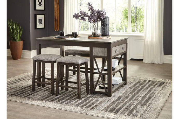 Homelegance Elias Gray Wood Finish 5 Piece Counter Height Bar Table Set