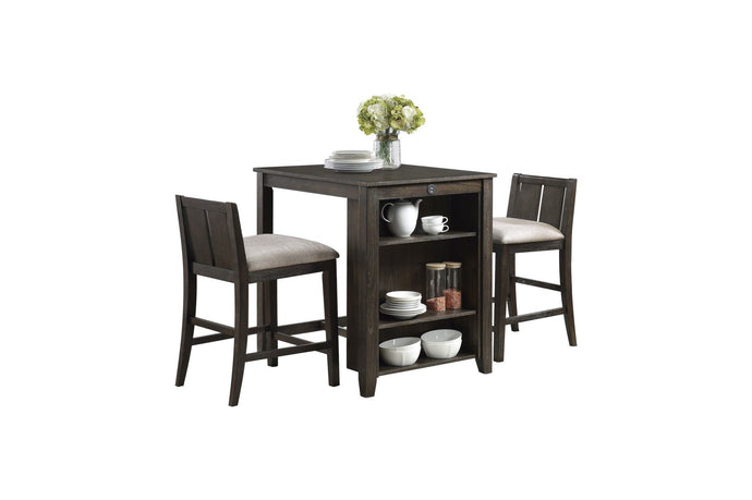 Homelegance Daye Brown Wood Finish 3 Piece Bar Table Set