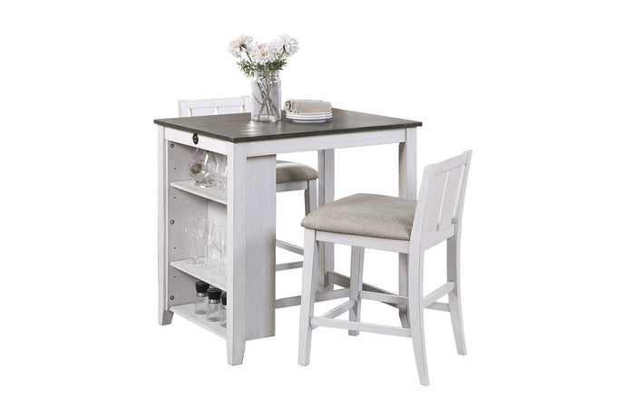 Homelegance Daye White Wood Finish 3 Piece Bar Table Set