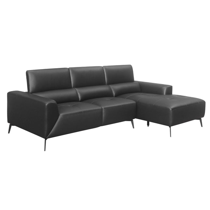 Homelegance Argonne Black Grain Leather Finish Sectional Sofa