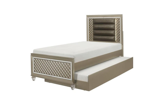 Homelegance Loudon Champagne Wood Finish Twin Bed With Trundle