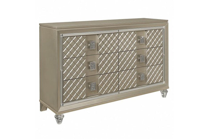 Homelegance Loudon Champagne Wood Finish Dresser With Mirror