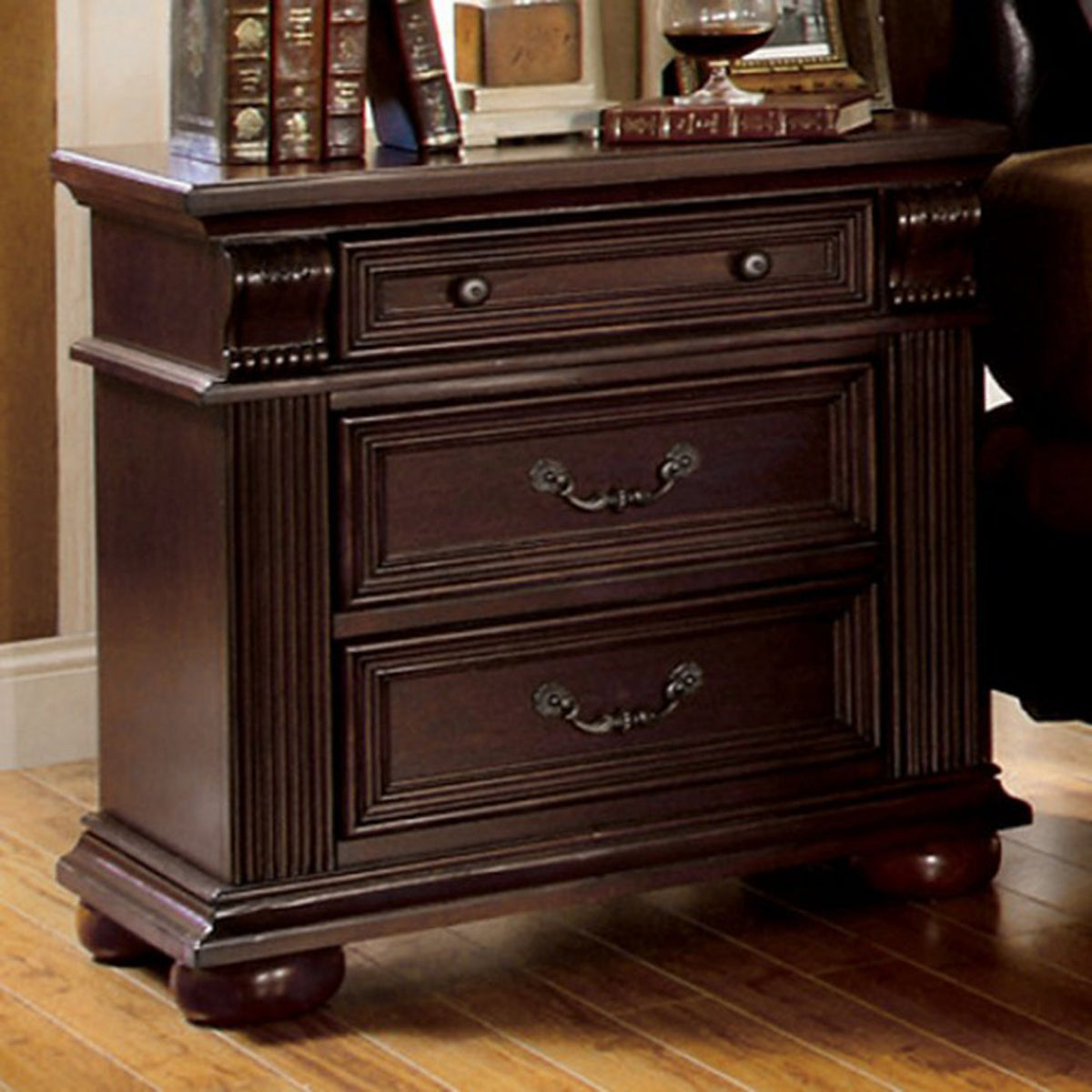 Furniture of America CM7711N Esperia Brown Cherry Finish Nightstand