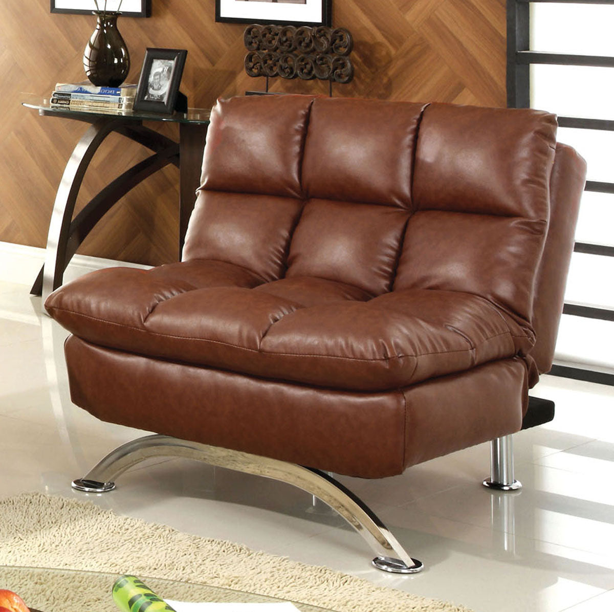 Furniture of America CM2906CH Aristo Saddle Brown Leatherette Chair