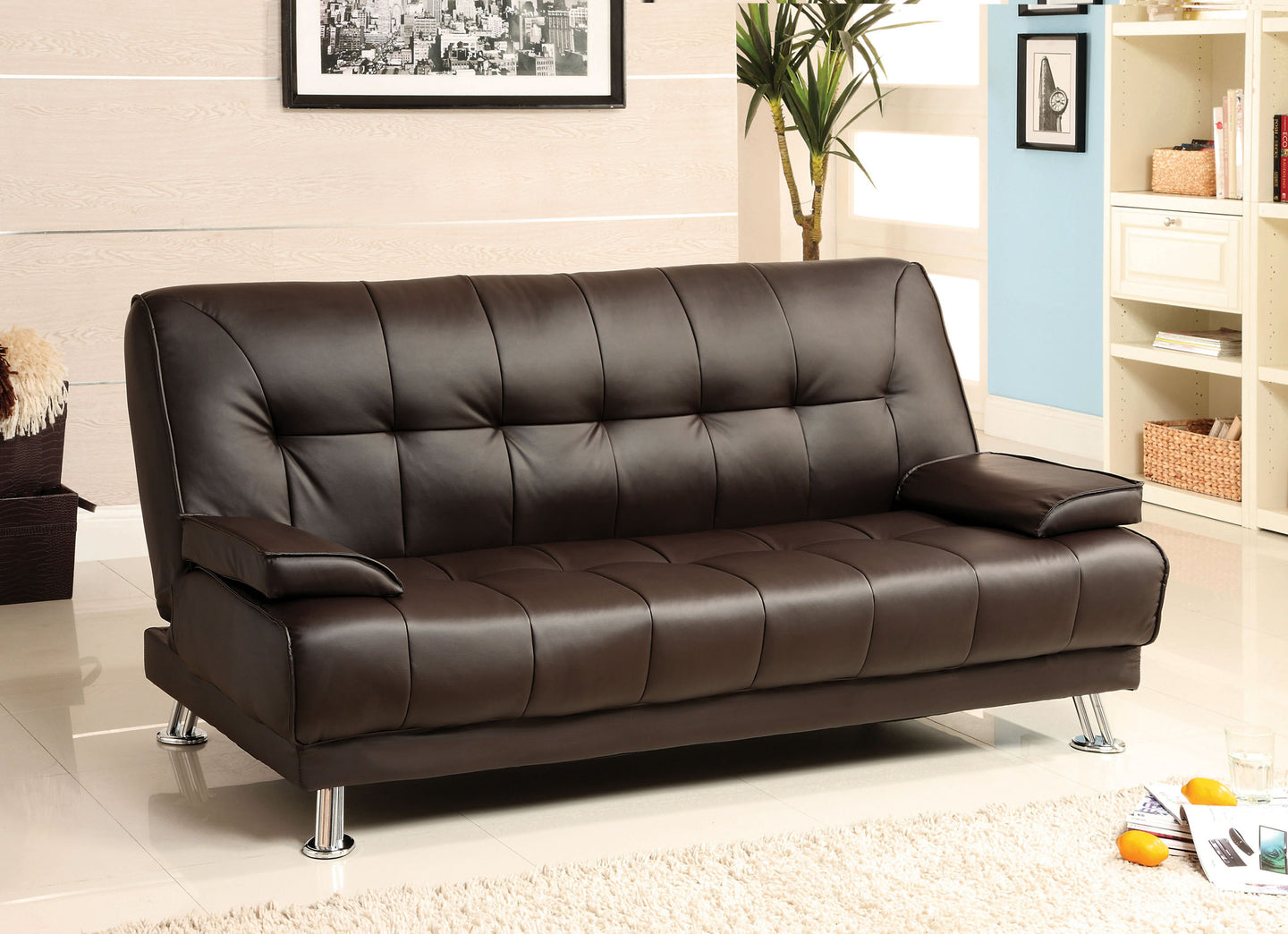 Beaumont CM2100 Dark Brown Leatherette Futon Sofa Bed