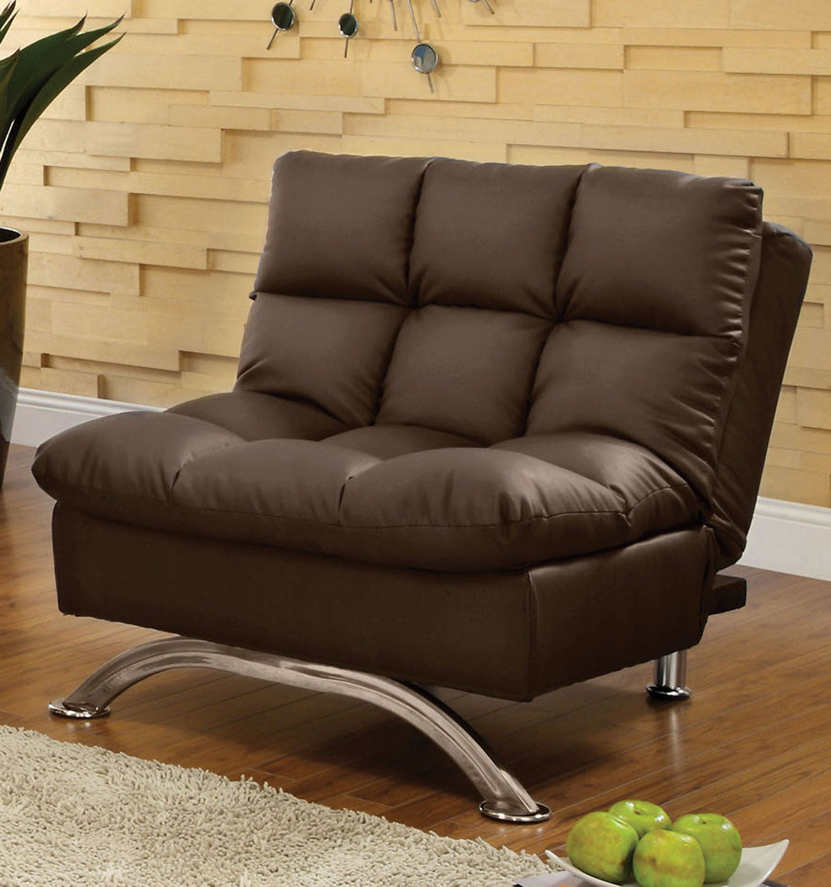 Furniture of America CM2906DK-CH Aristo Dark Brown Leatherette Chair