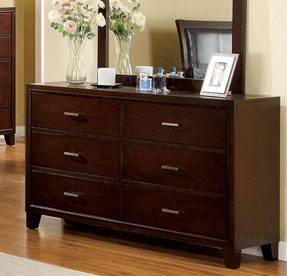 Gerico II CM7068D Contemporary Brown Cherry Finish Dresser