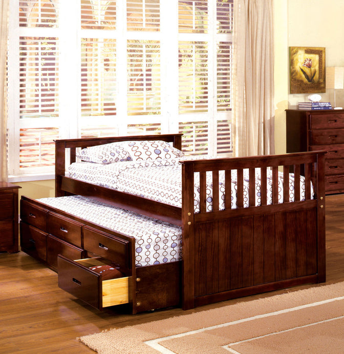 Montana CM7031 Kids Cherry Captain Twin Bed with 3 Drawers Trundle