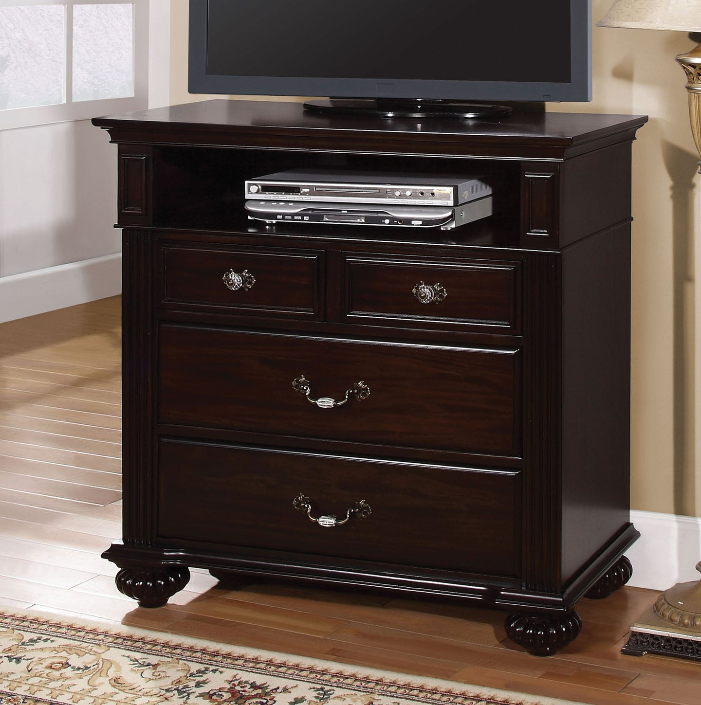 Syracuse CM7129TV Transitional Dark Walnut Finish Media Chest