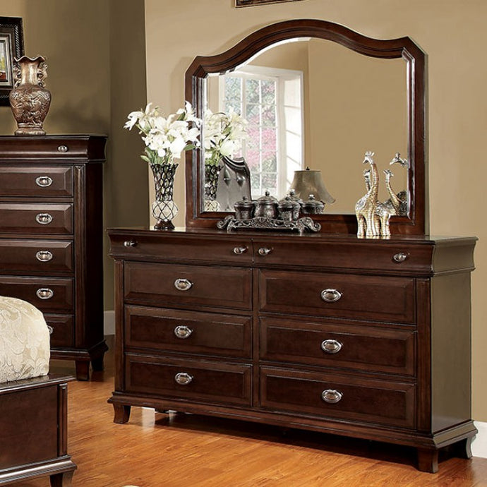 Furniture Of America Arden Brown Wood Finish 2 Piece Dresser Mirror Set