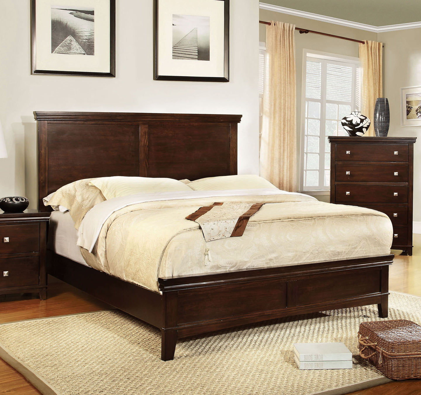 Furniture of America CM7113CH-Q Spruce Brown Cherry Queen Platform Bed