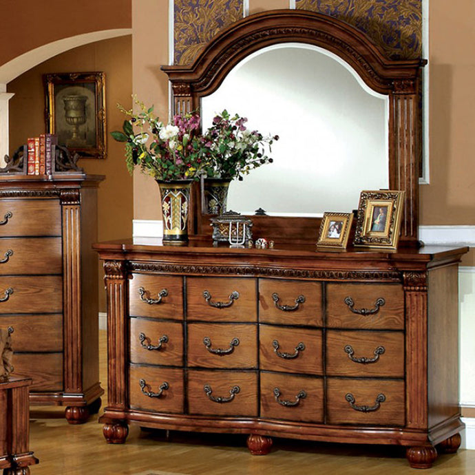Bellagrand CM7738D Transitional Antique Tobacco Oak Dresser and Mirror