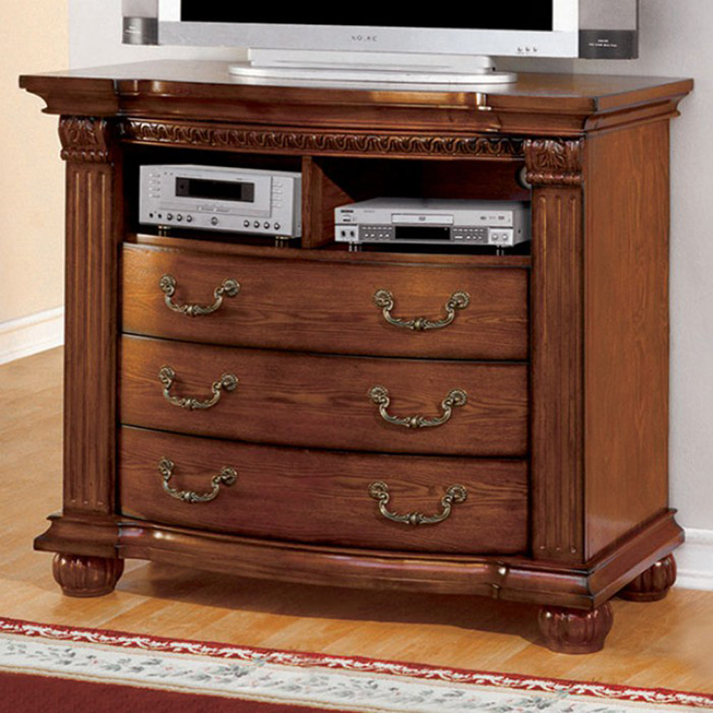 Bellagrand CM7738TV-DR Transitional Antique Oak Media Chest