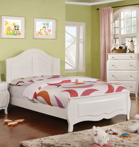 Import Direct Roxana Solid Wood Girls Bed in White Finish
