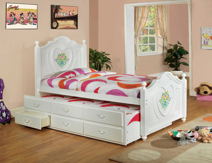 Isabella II CM7619T White Captain Twin Bed with Twin Trundle Drawers