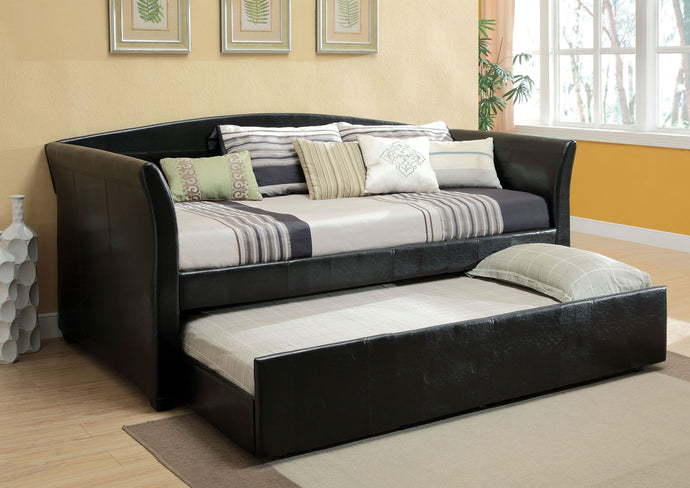 Delmar CM1956BK Contemporary Black Twin Daybed with Twin Trundle