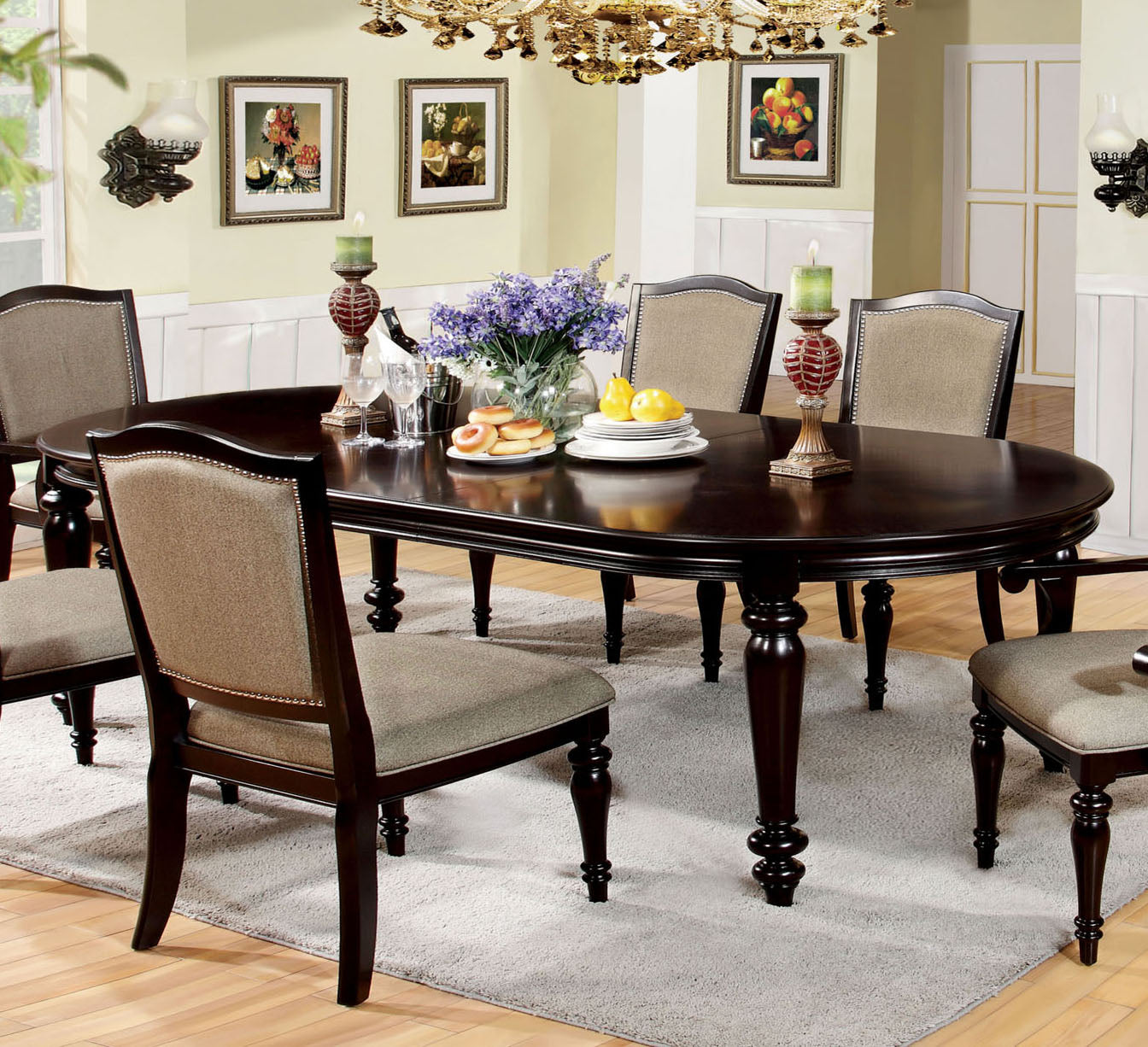 Furniture of America CM3970T Harrington Dark Walnut Dining Table