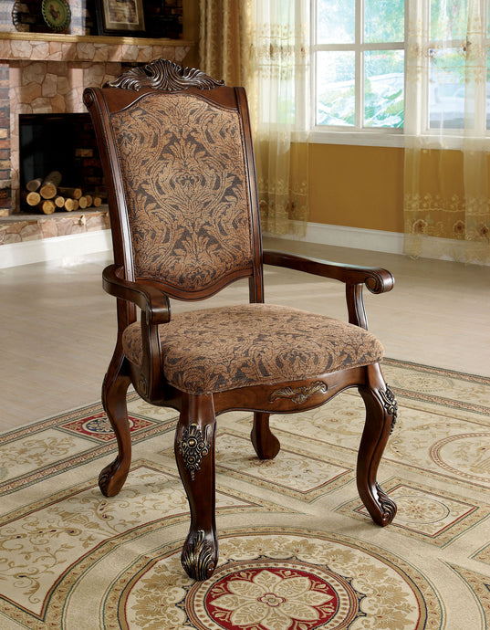 Furniture of America Cromwell Traditional Antique Cherry Arm Finish Chair Set of 2
