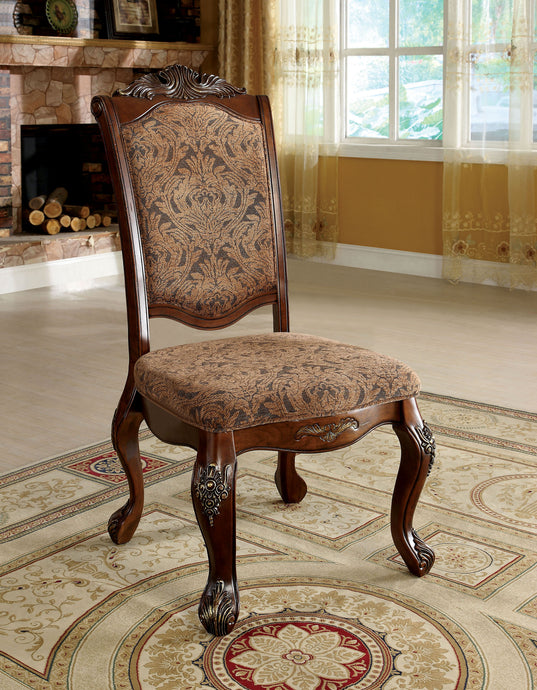 Furniture of America Cromwell Traditional Antique Cherry Side Chair Set of 2