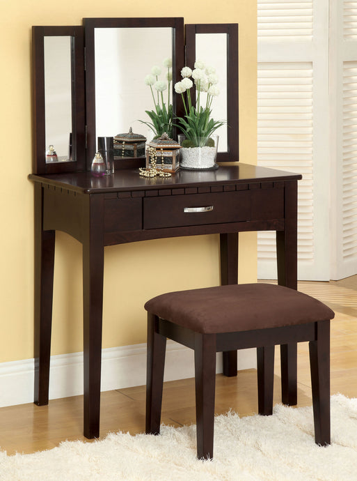 CM-DK6490EXP Potterville Espresso Vanity Table Mirror Stool Set