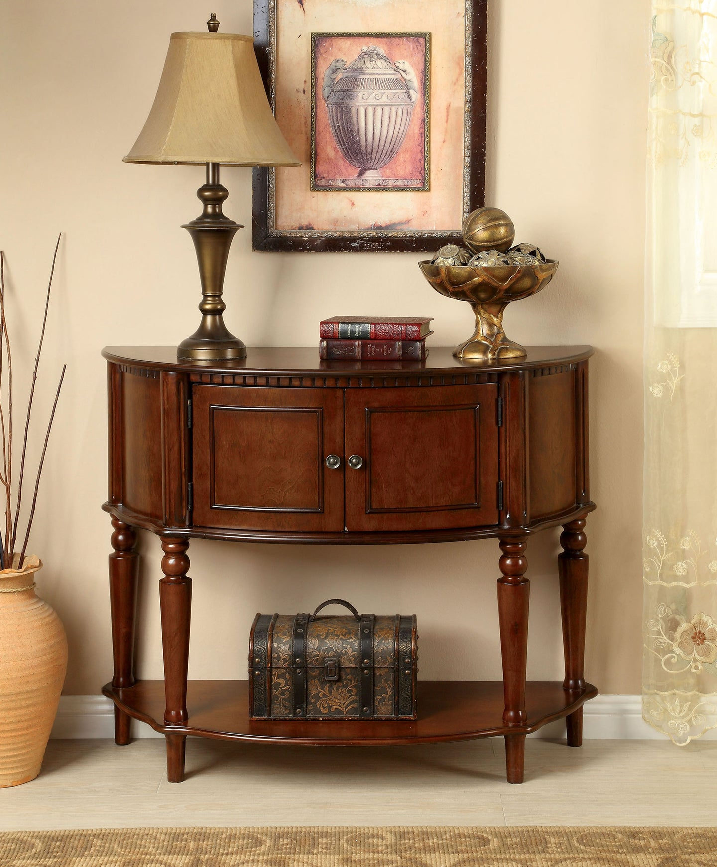 Furniture of America CM-AC6714 Roxbury Traditional Cherry Side Table