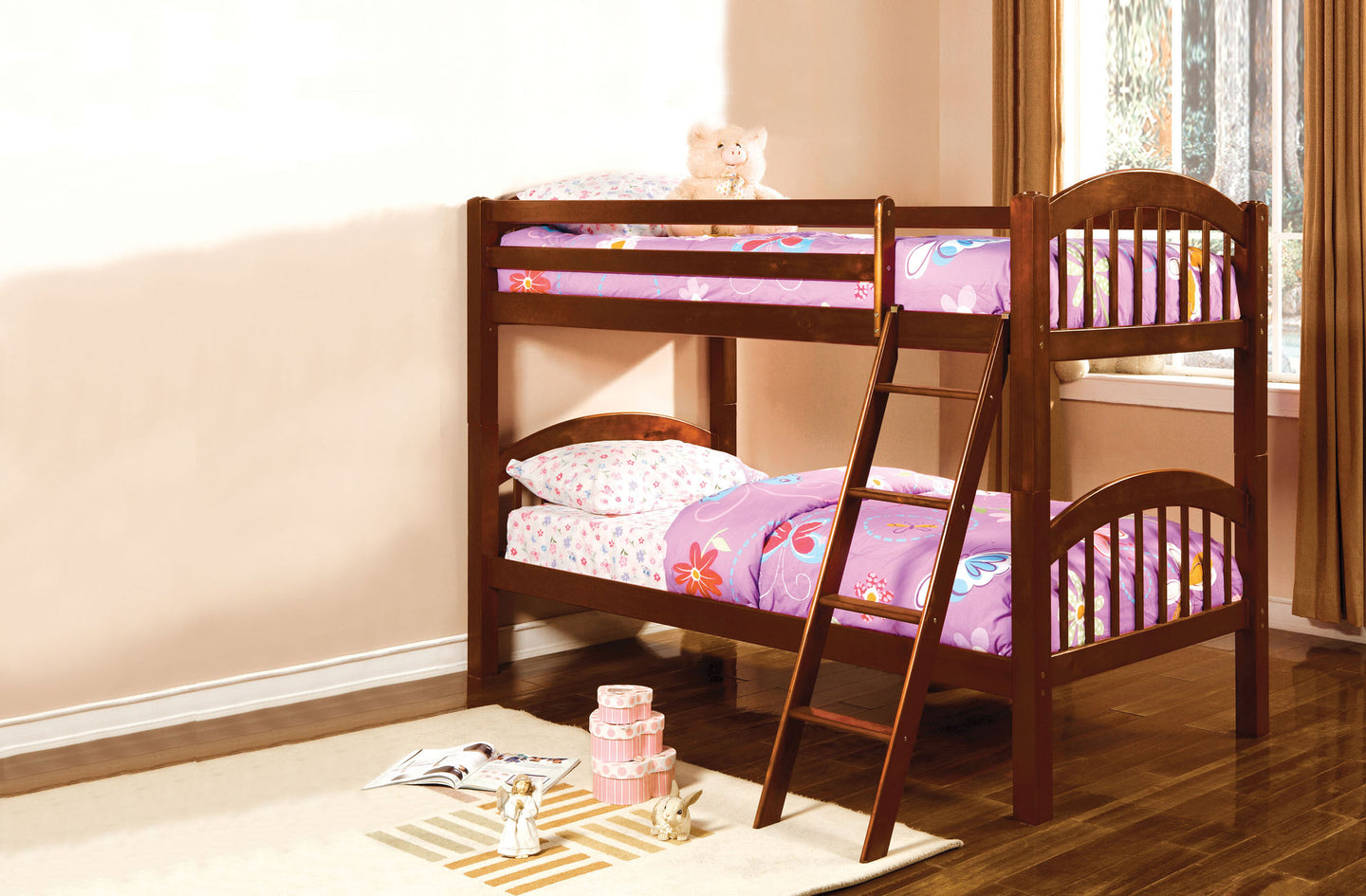 Furniture of America Coney Island Cherry Kids Twin over Twin Bunk Bed