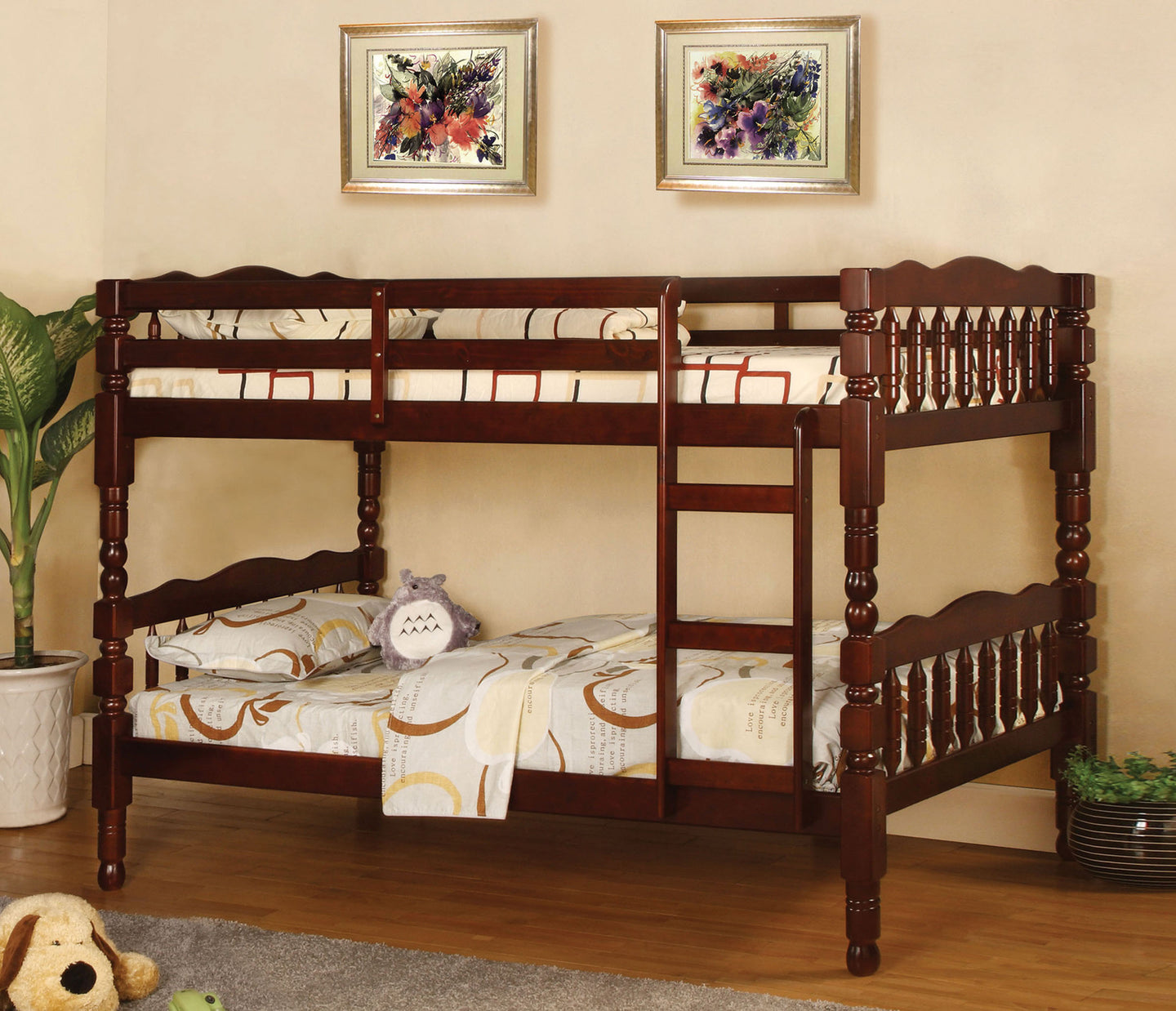 Furniture of America Catalina Cherry Wood Finish Twin Over Twin Bunk Bed