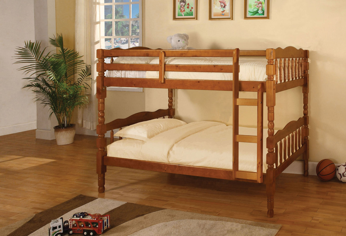 Furniture of America Catalina Oak Wood Finish Twin Over Twin Bunk Bed