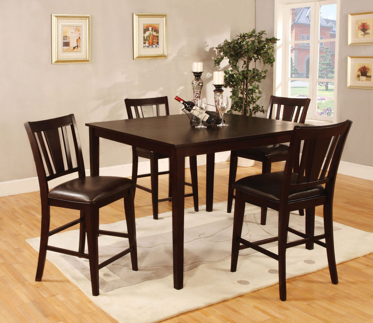 Furniture Of America Bridgette II Espresso Wood Finish 5 Piece Counter Height Dining Table Set