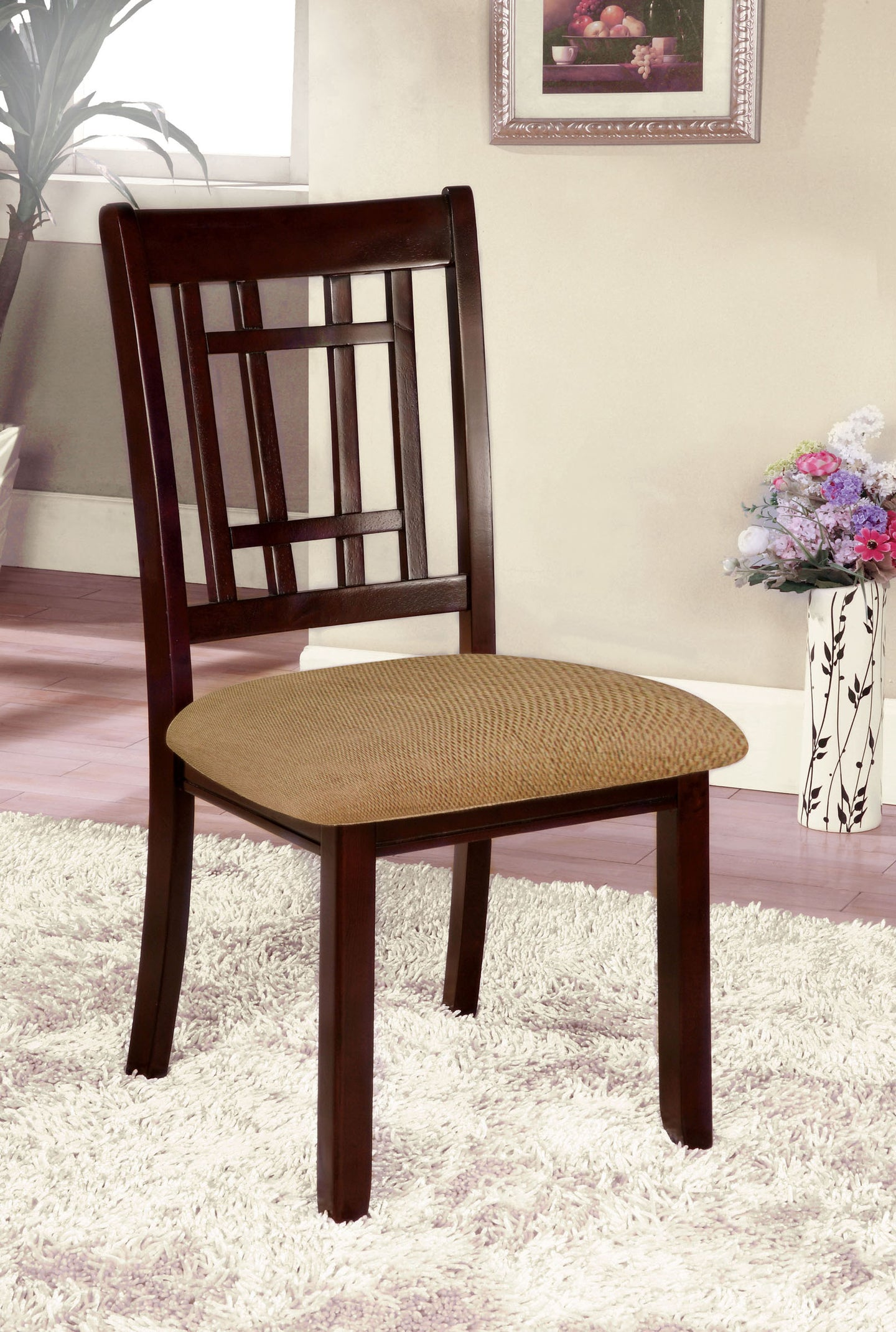 Furniture of America Central Park I Dark Cherry Finish 2 Piece Side Chair