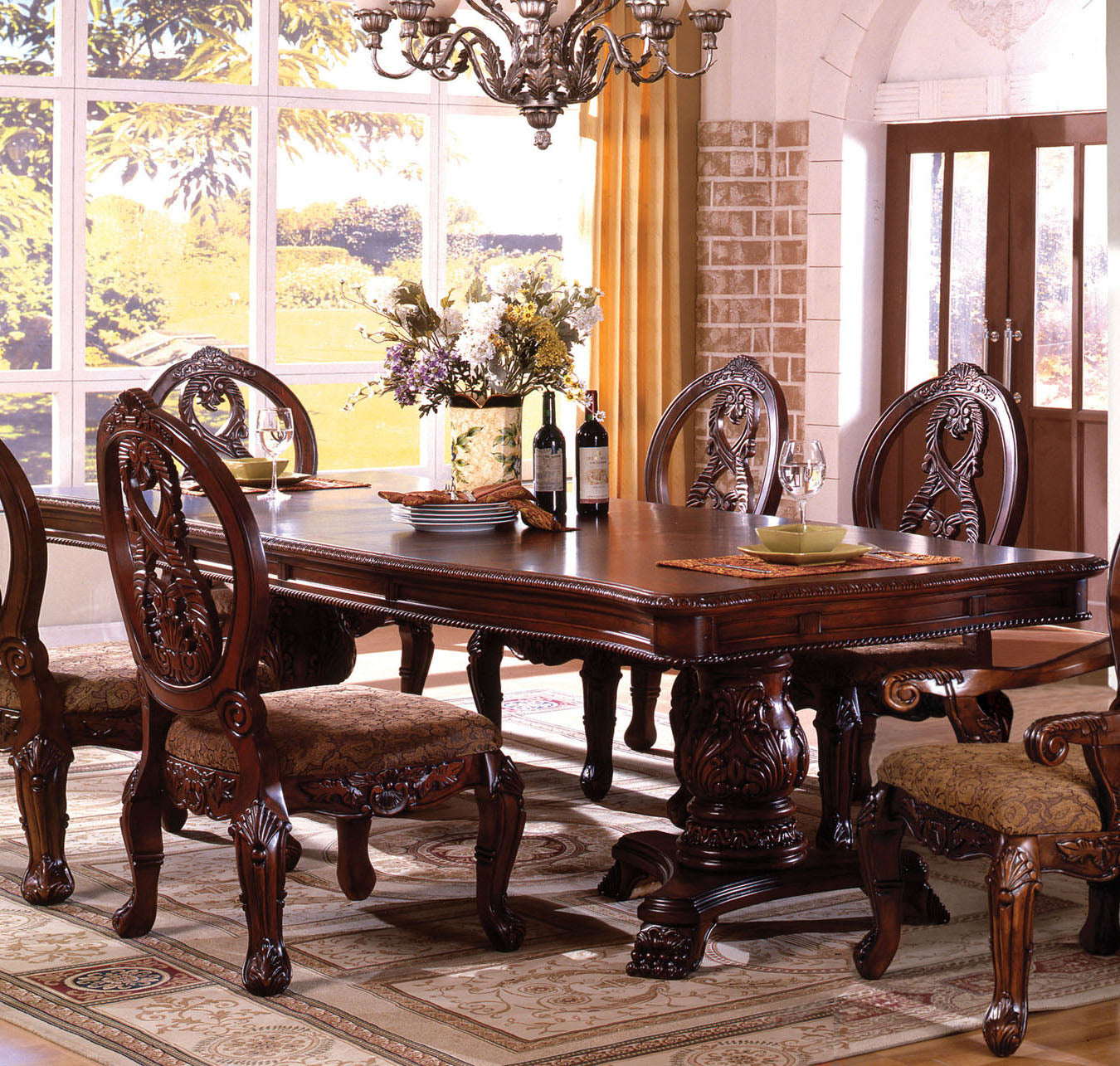Furniture of America CM3845P-CH-T Tuscany I Antique Cherry Dining Table