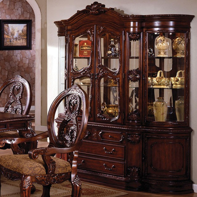 Furniture of America Tuscany II Antique Cherry Wood Finish Hutch And Buffet