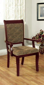 Furniture of America St. Nicholas Antique Cherry Wood Finish 2 Piece Dining Arm Chair