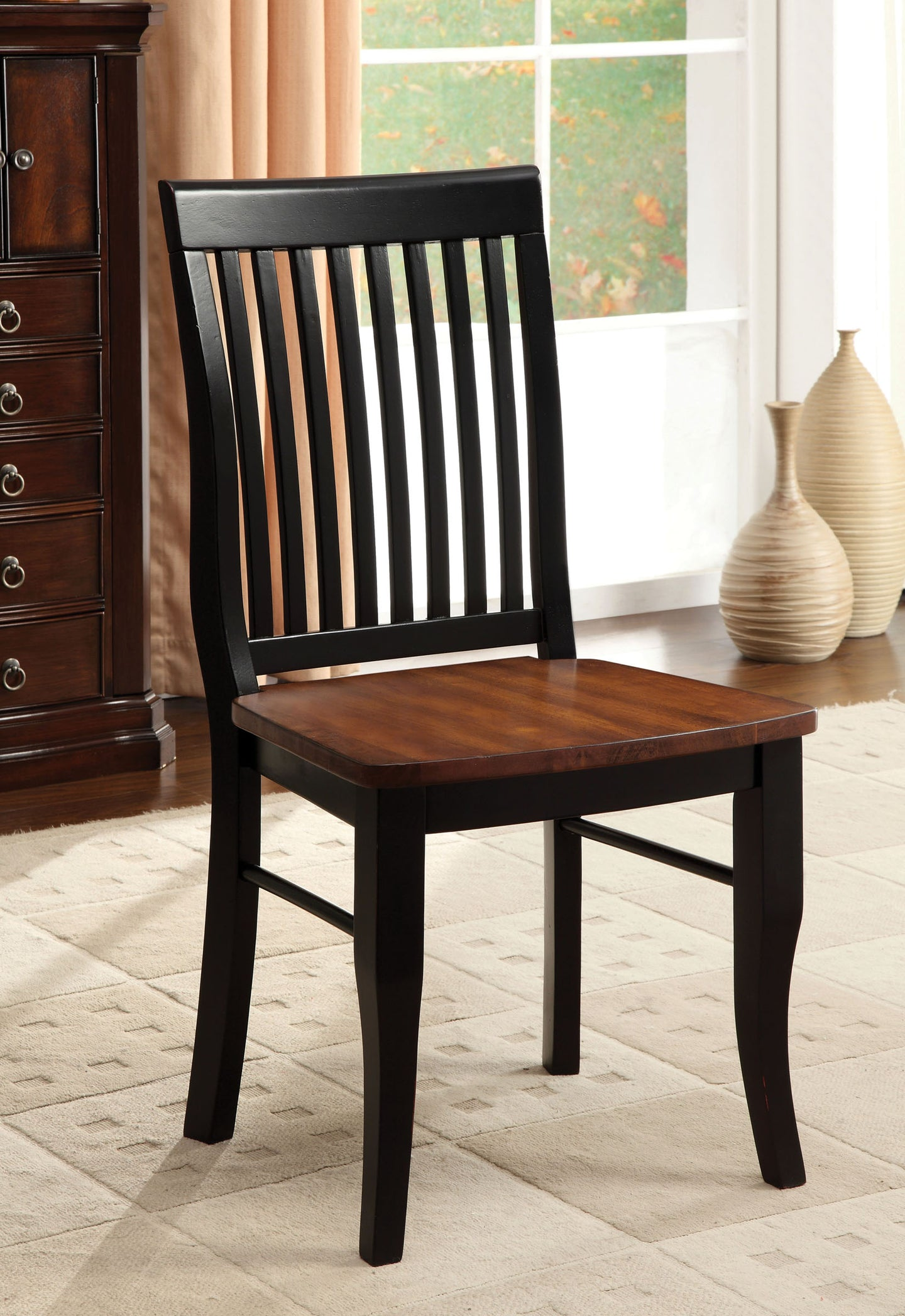 Furniture Of America Earlham Antique Oak Black Wood Finish 2 Piece Dining Side Chair