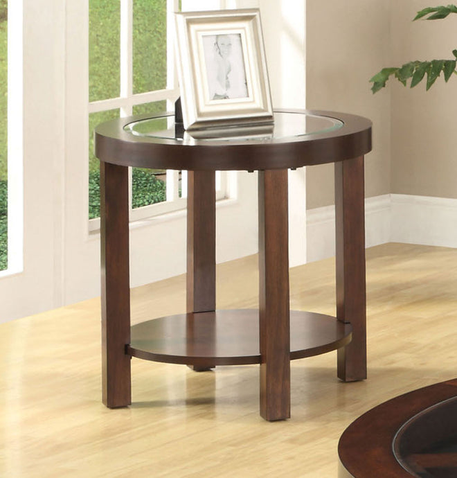 Furniture of America Crystal Cove II Beveled Brown Wood Glass Top Finish End Table