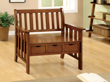 Load image into Gallery viewer, Furniture of America Pine Crest Oak Wood Finish Bench