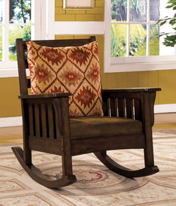 Furniture Of America Morrisville Dark Oak Wood Finish Rocking Chair
