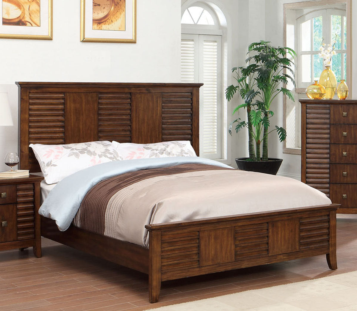 Furniture of America CM7981CK Eola Walnut Finish California King Bed