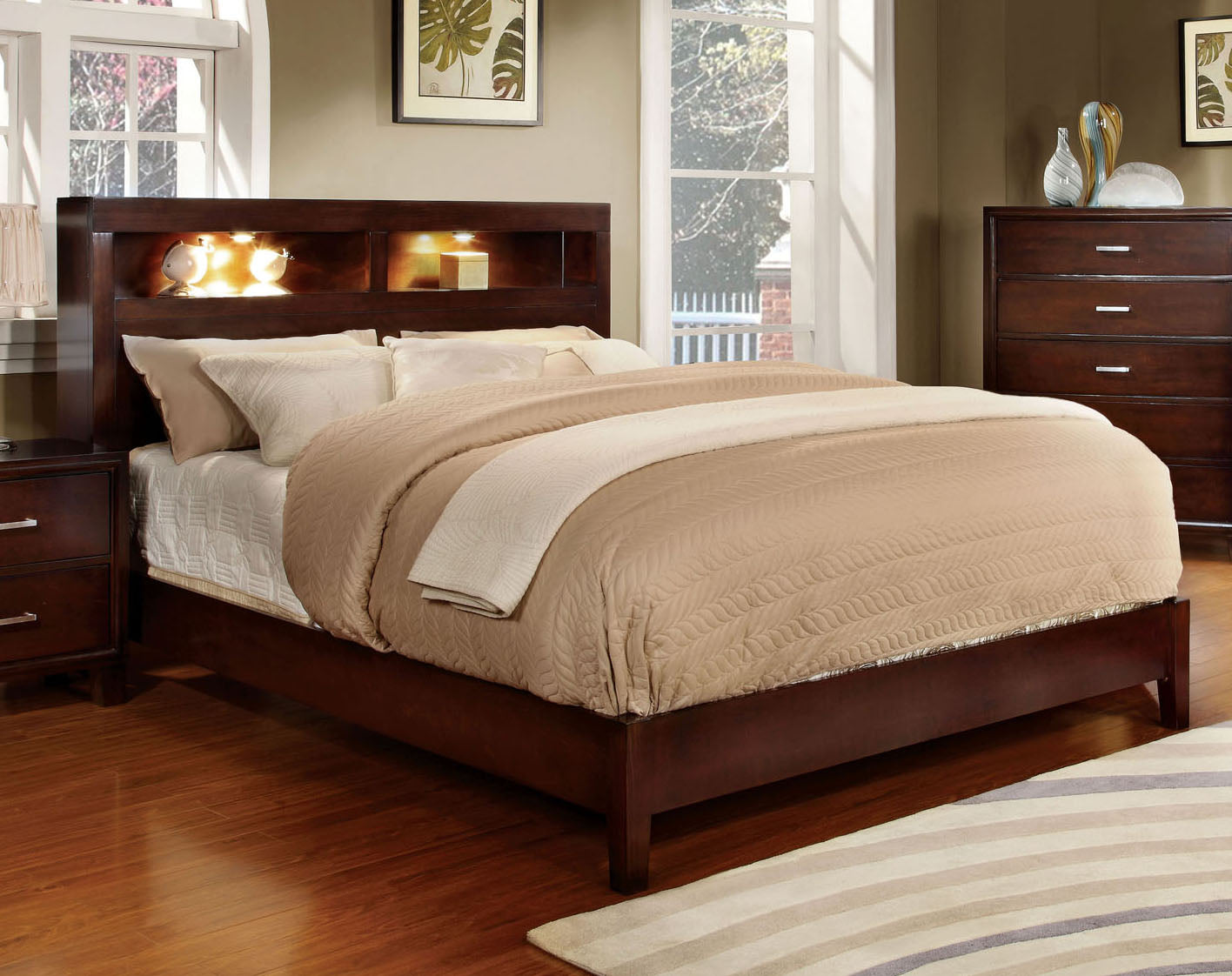 Gerico I CM7290CH-CK Contemporary Brown Cherry King Platform Bed